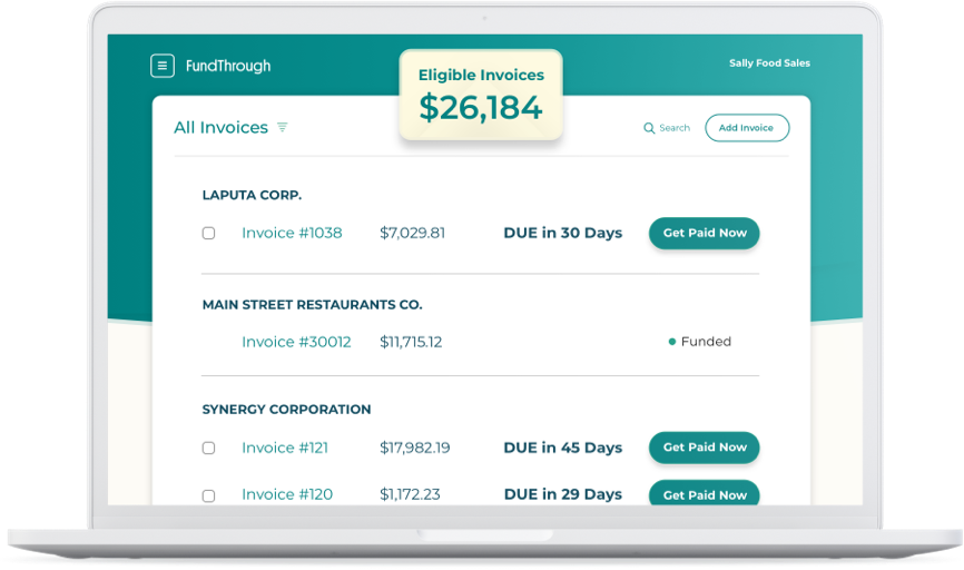 Screenshot of FundThrough app on a laptop showing invoices that can be funded early.