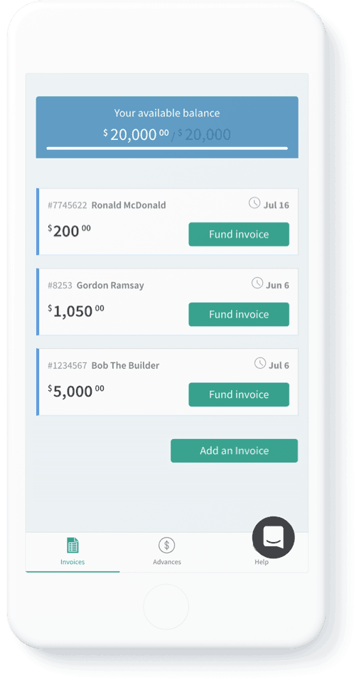 fund invoices online on mobile phone