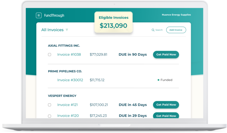 FundThrough Dashboard showing a list of invoices that are eligible for funding earlier than their due dates